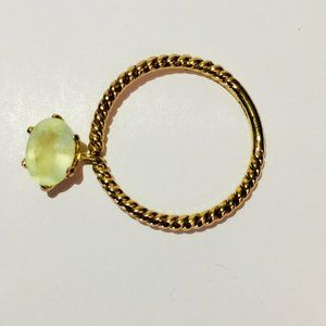 14K Gold Plated Prehnite Charm Ring